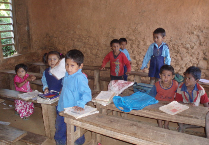 The interior of all Shree Prabhat classrooms looked like this before the refurbishment in 2010. This one would become the library below!
