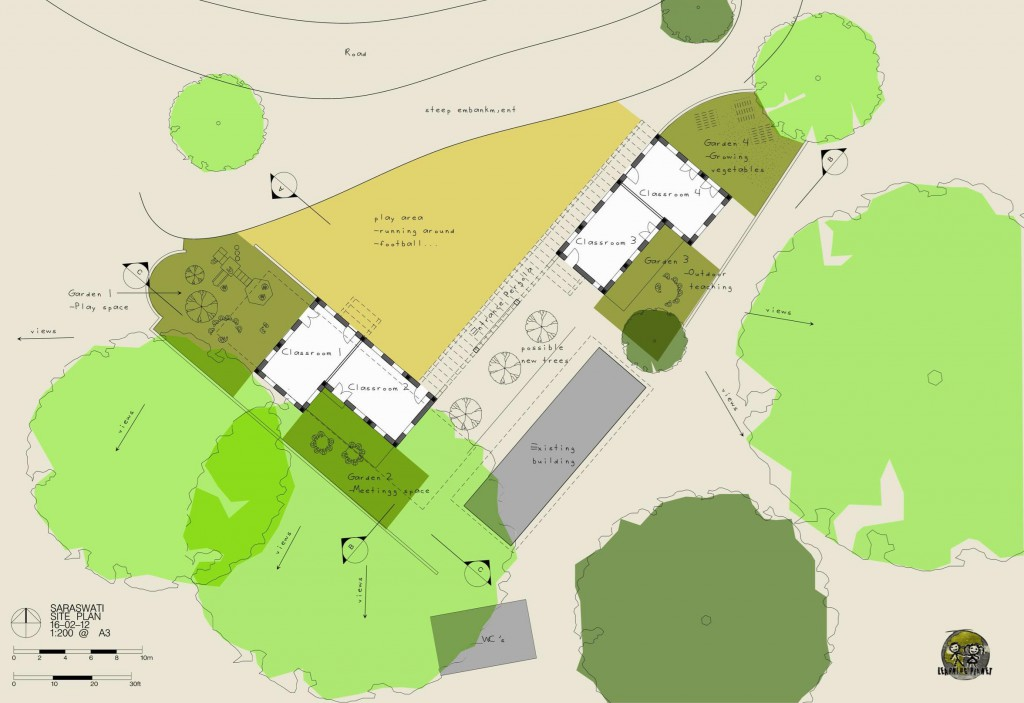The final plan view chosen by Tandrang Village Development Committee, with each classroom opening onto it's own self contained external spac